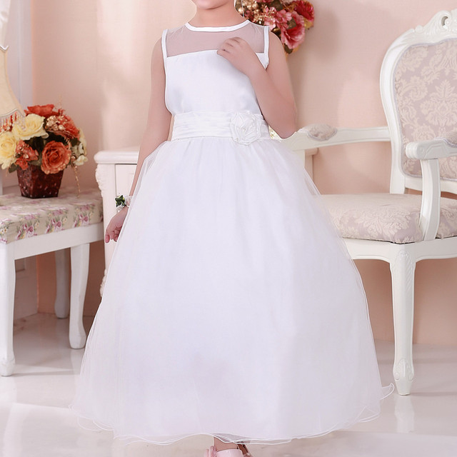 105b4fc6565 Simple Design White Flower Girl Dress Long Vestidos For 3 4 6 8 10 12 14