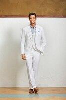 Giản dị vải lanh mùa hè men suits người đàn ông da Trắng Bãi Biển wedding 3 Cái phù hợp với khía ve áo tuxedo 2 nút chú rể Mặc Áo Khoác + quần + vest