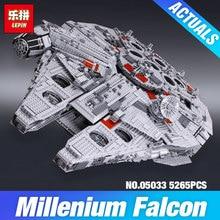 Лепин 05033 5265 шт. star wars конечная коллекционное тысячелетний сокол модель строительство комплект блоки кирпичи diy игрушки совместимость 10179