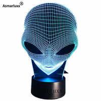 Alienígena cabeça 3d holograma ilusão única lâmpada de acrílico luz da noite com interruptor toque luminaria lava lâmpada 7 cores mudando deco presente