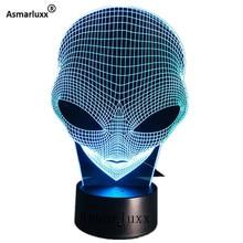 Alien ראש 3D הולוגרמה אשליה ייחודי מנורת אקריליק לילה אור עם מגע מתג Luminaria לבה מנורת 7 צבעים שינוי דקו מתנה