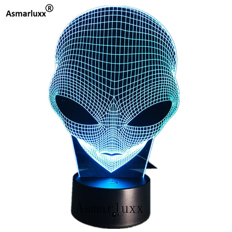 Alien Head 3D Hologram Illusion Unique Lamp Acrylic Night Light With Touch Switch Luminaria Lava Lamp 7Colors Changing Deco Gift цена