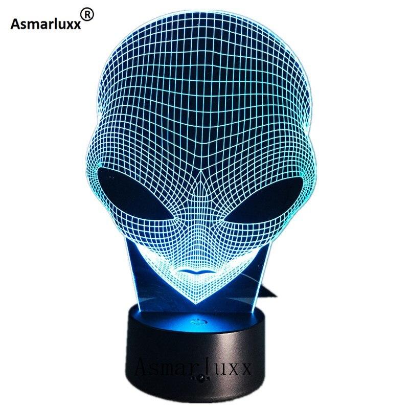 Alien Head 3D holograma ilusión lámpara única acrílico luz nocturna con Interruptor táctil Luminaria Lava lámpara 7 colores cambiante Deco regalo