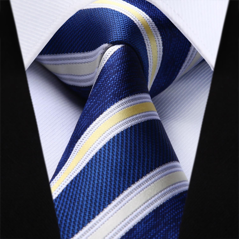c02f68505feda Party Wedding Classic Fashion Pocket Square Tie Woven Men Tie Navy Blue  White Striped Necktie Handkerchief Set#TS715V8S-in Men's Ties &  Handkerchiefs from ...