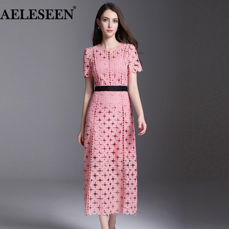 AELESEEN New Women Summer Long Dresses 2018 Fashion Short Sleeve Lace Pink / White Hollow Designer Runway Dress