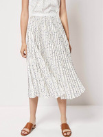 Women White Base Black Yellow Polka Dot Print Side Zip Chiffon Midi Pleated Fold Skirt