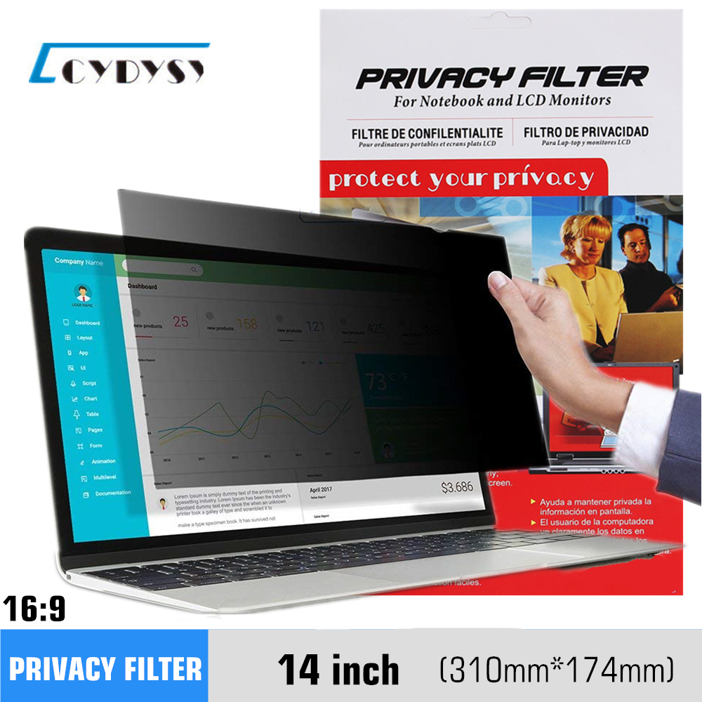 "Filtro privacy da 14 pollici Anti spia Film protettivo per 16: 9 Laptop 12 3/16 ""wide x 6 7/8"" high (310mm * 174mm)"
