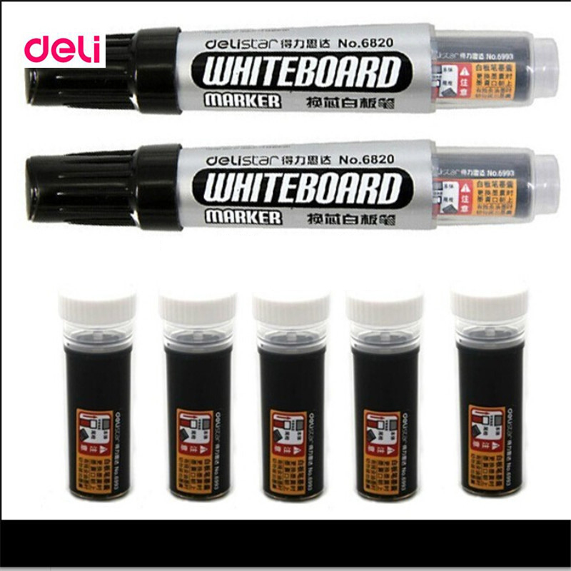 Deli Famous School & Office Stationery Large Capacity Ink Dry Erasable Markers Chancery Refillable Whiteboard Marker Pens