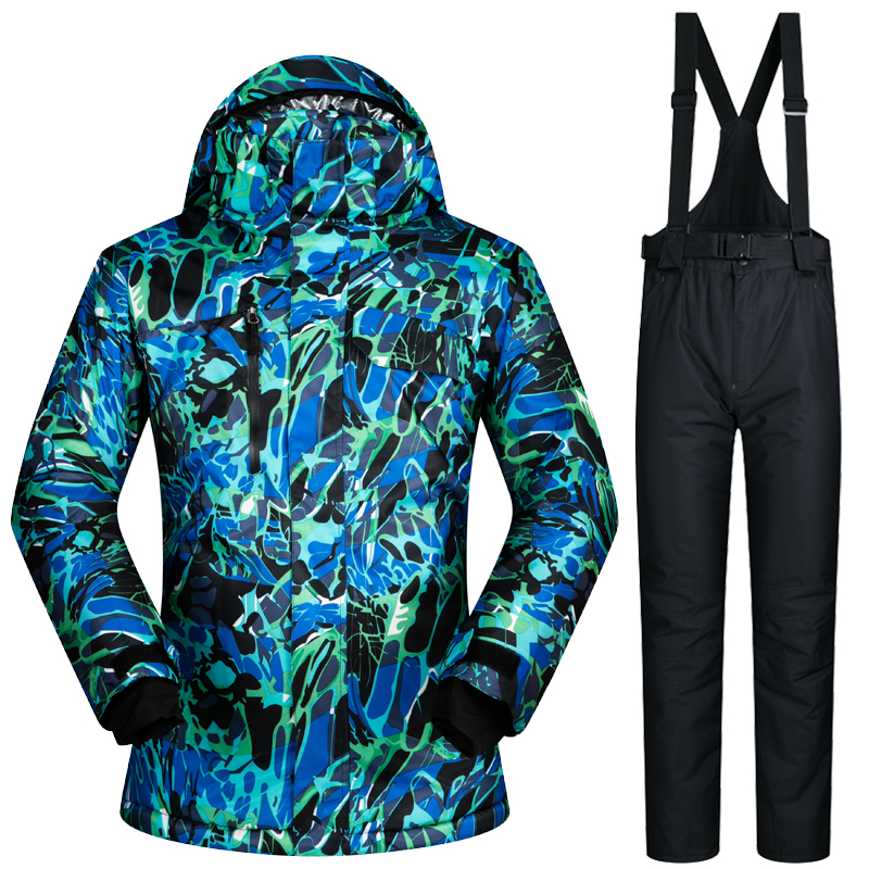 Winter Outdoor 2017 NEW Men Ski Suit Super Warm Clothing Skiing Snowboard Jacket+Pants Suit Windproof Waterproof Winter Wear new mens leather waterproof screen gloves mittens for male winter windproof ski super driving warm proctive gloves