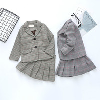 Party Clothes Kids Clothes Winter Children Sets Long Sleeve Plaid Coat+ Dress /Pant 2PCS Suits Girls Clothing