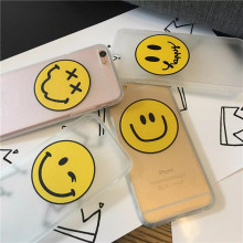 Smile Emoji Silk Texture Matte Acrylic TPU Back Cover Case for iPhone 5 5s 6 6s