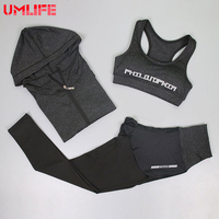 UMLIFE Female Running Sport Suit Women Sports Bra Fitness Clothing Sport Wear 3 Piece Yoga Set Gym Workout Crop Top Tracksuit