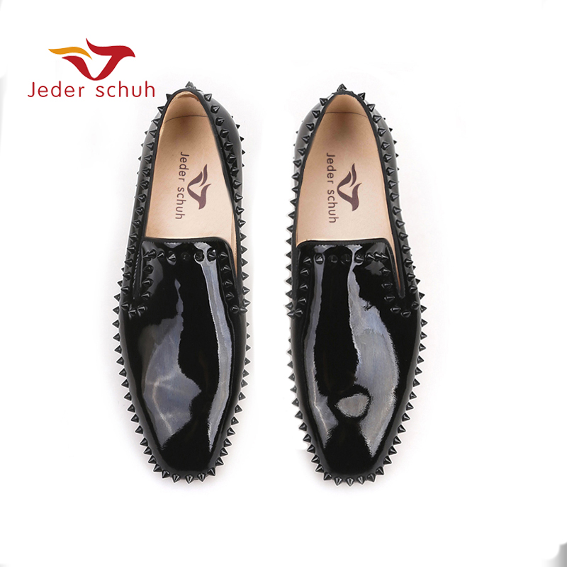 Jeder Schuh new arrival Handmade Black Patent Leather men spiked shoes party and wedding red bottom men's loafers