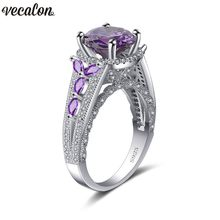 Vecalon 3 colors Flower ring 925 Sterling silver 4ct AAAAA Zircon Party wedding band rings For women men Dropshipping Jewelry(China)