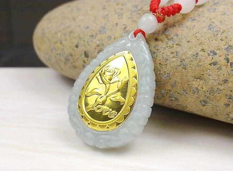 Fashion Design Top Quality Flower Gold Jade Necklace For Men Women Hot Sales Pendant long term sales top quality 100