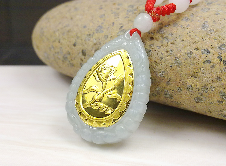 Fashion Design Top Quality Flower Gold Jade Necklace For Men Women Hot Sales Pendant