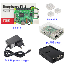 UK RS Version Raspberry pi 3 + 3 stücke Aluminium kühlkörper + Raspberry pi 3 ABS Fall Box + 5V2. 5A Power Charger Stecker für Raspberry pi 3 B