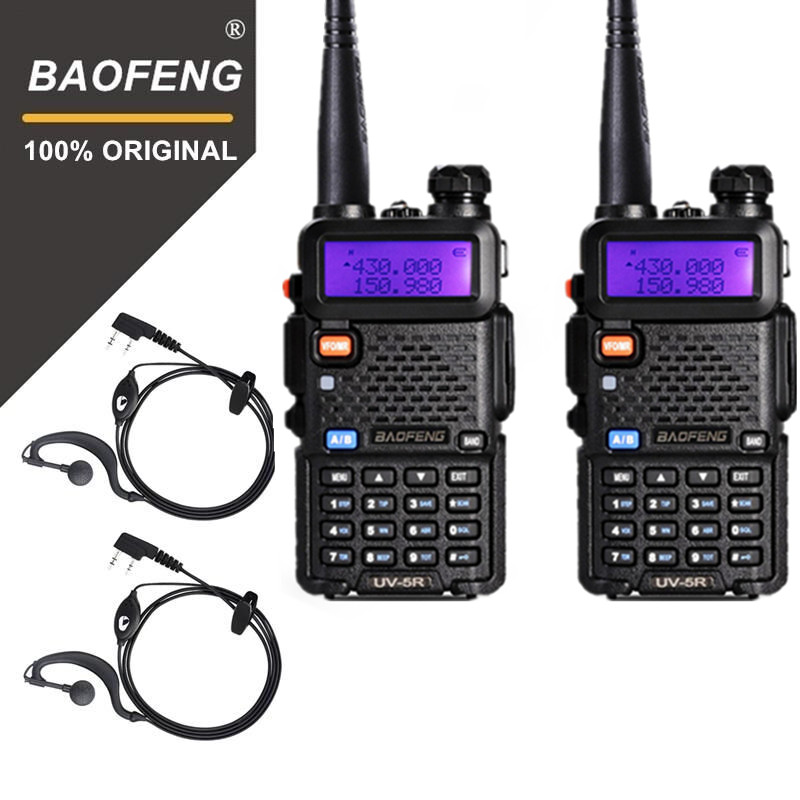 2Pcs 100% BaoFeng UV-5R Walkie Talkie VHF/UHF 136-174Mhz&400-520Mhz Dual Band Two Way Radio Baofeng UV5R Portable Transceiver