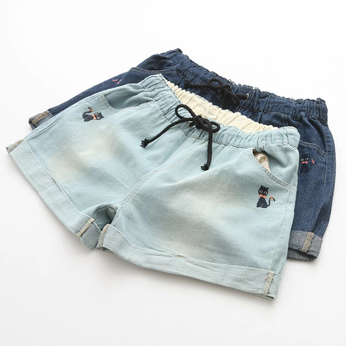 4e61ecf2801a6 2017 Summer Denim Shorts Black Cat Embroidery Elastic Drawstring Women s Short  Jeans With Pocket Casual Loose M L Plus Size-in Shorts from Women s  Clothing ...