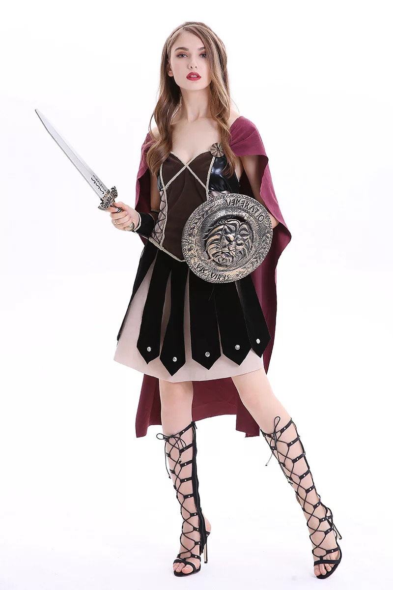 US $20 5 12% OFF|Greek Roman Solider Gladiator Warriors Costume For Adult  Women Medieval Cool Armor Robe Cape Cloak Larp Outfit For Teen Girls on