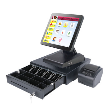 Restaurant pos terminal Cheap 15'' pos system with printer Cash drawer point of sale machine