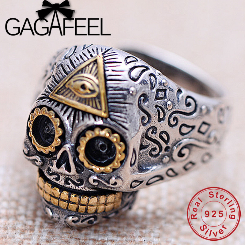 GAGAFEEL Men Silver Skull Ring 925 Sterling Silver Rock Style Ring for Boys Dropship Thai Silver Jewelry Top Quality