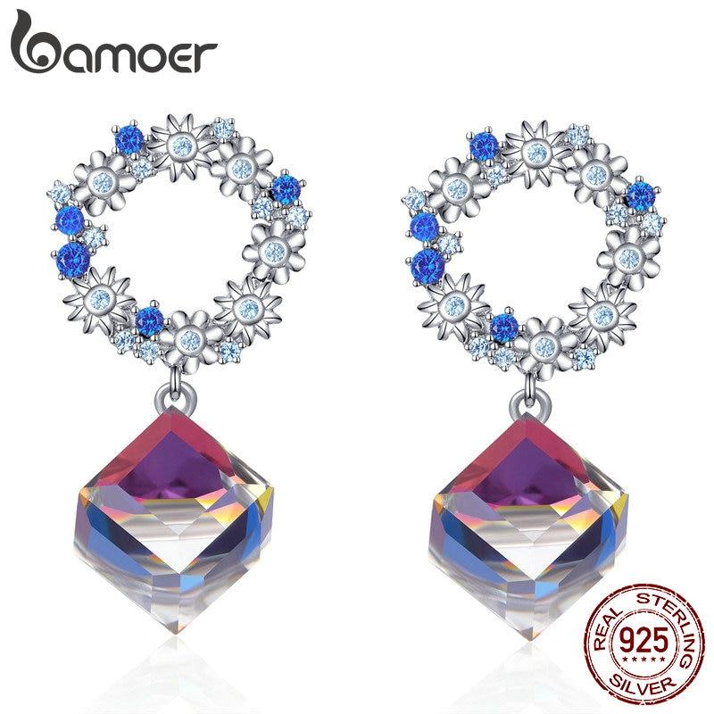 Bamoer Austrian Crystal Cube Wreath Dangle Earrings 925 Sterling Silver Flower Women Wedding Statement Jewelry Gifts BSE202