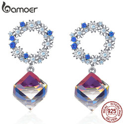 bamoer Austrian Crystal Cube Wreath Dangle Earrings 925 Sterling Silver Flower Women Wedding Statement Jewelry Gifts BSE202