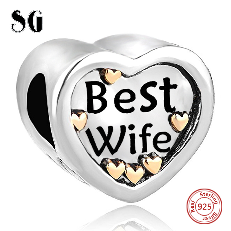 Silver 925 Original Best Wife DIY Silver jewelry Charm Antique Heart beads Fit Authentic pandora charm beads for jewelry making
