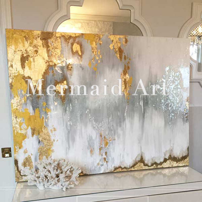6125820cc57 Handpainted Abstract Gold Leaf Art with Gray and White Ombre Pictures  Handmade White and Silver Chandelier