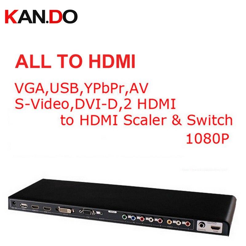 391N All Video To HDMI Converter 1080P Scale & Switch Video Converter VGA,USB,YPbPr,AV,S-Video,DVI-D,2 HDMI To HDMI Converter