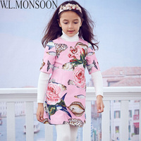W L MONSOON Toddler Girls Dresses With Beading 2017 Brand Winter Princess Dress Children Vestido Fish