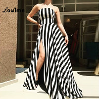 Black And White Strapless Formal Evening Gown Elegant Evening Dresses Robe De Soiree 2018 Simple Party Dress Vestido Longo Dress