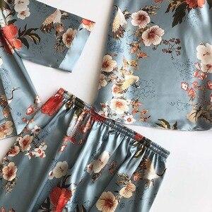 Image 5 - Womens Robe Autumn Printed Long Sleeve Simulated Silk Leisure Wear Thin Sexy Three piece Suit Coat+Vest+Pants Pajama Set Femme