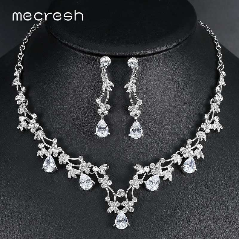 Mecresh Elegant Leaf CZ Wedding Jewelry Sets for Bride Clear Crystal Necklace Earrings Sets 2018 Hot Bridesmaid Jewelry MTL500