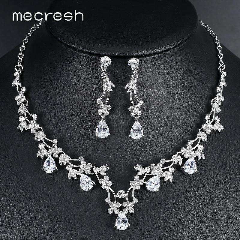 Mecresh Elegant Leaf CZ Wedding Jewelry Sets For Bride