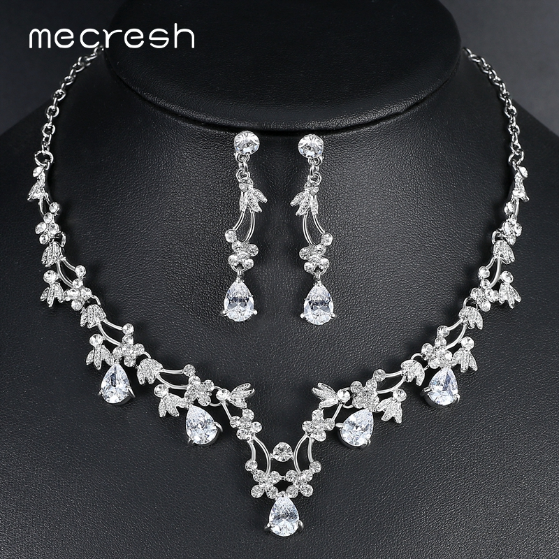 Cz Wedding Sets.Us 8 45 25 Off Mecresh Elegant Leaf Cz Wedding Jewelry Sets For Bride Clear Crystal Necklace Earrings Sets 2018 Hot Bridesmaid Jewelry Mtl500 In