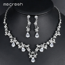 Mecresh Elegant Leaf CZ Wedding Jewelry Sets for Bride Clear Crystal Necklace Earrings 2017 Hot Bridesmaid MTL500