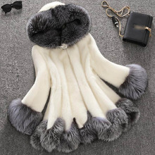 Faux Mink Fur Coat for Women 2017 New Plus Size 3 4 5 6 XL Faux Fur Hooded Warm Faux Fur Long Coats White Black SSM01