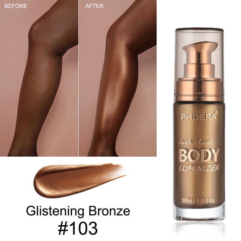 PHOERA Body Luminizer Bronzer Highlighter Liquid  foundation Setting Spray Shimmer Brighten Glow Rose Gold  Makeup Waterproof T1
