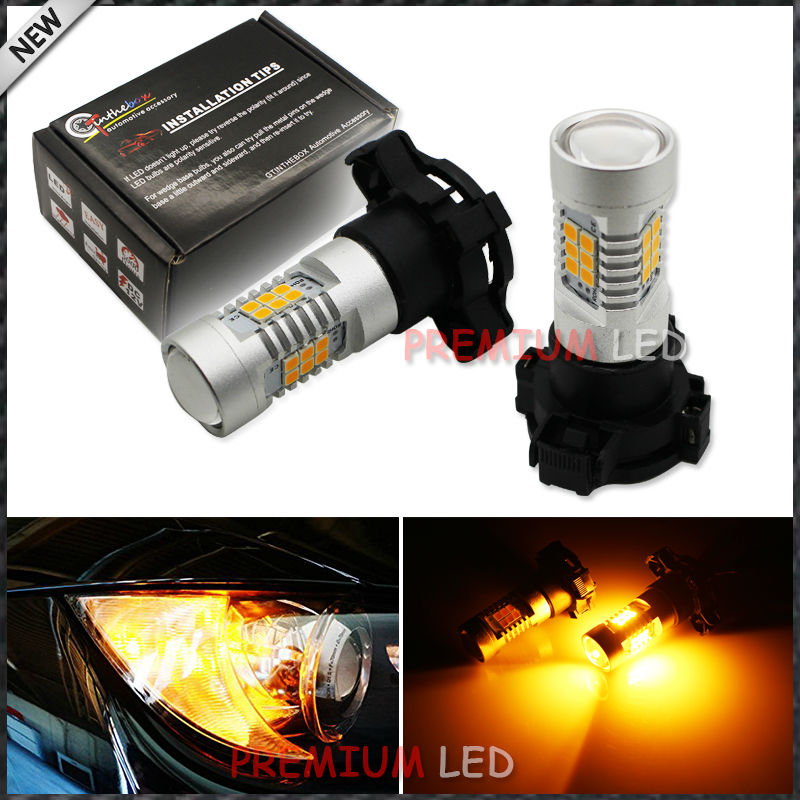 Error Free  PY24W 5200s LED Bulbs For BMW Front Turn Signal Lights, Fit E90/E92 3 Series, F10/F07 5 Series, E83 E70 X5 E71 , etc ijdm amber yellow error free bau15s 7507 py21w 1156py xbd led bulbs for front turn signal lights bau15s led 12v