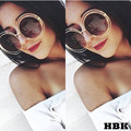 HBK Oversized Round Sunglasses Women Vintage Sun Glasses Women Female Brand Design  Shade UV400 Glasses lunette de soleil