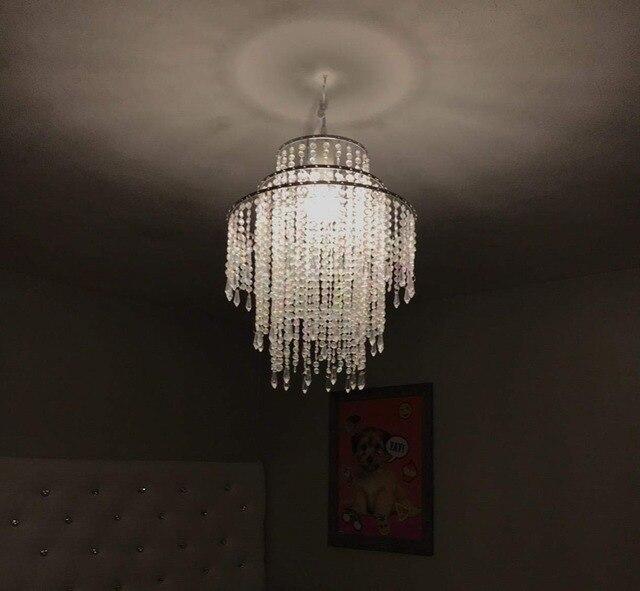 SUNLI HOUSE Metal Silver Chrome Plated Pendant Lamp Chandelier Acrylic Beads Lamp AC Wedding Decoration European style