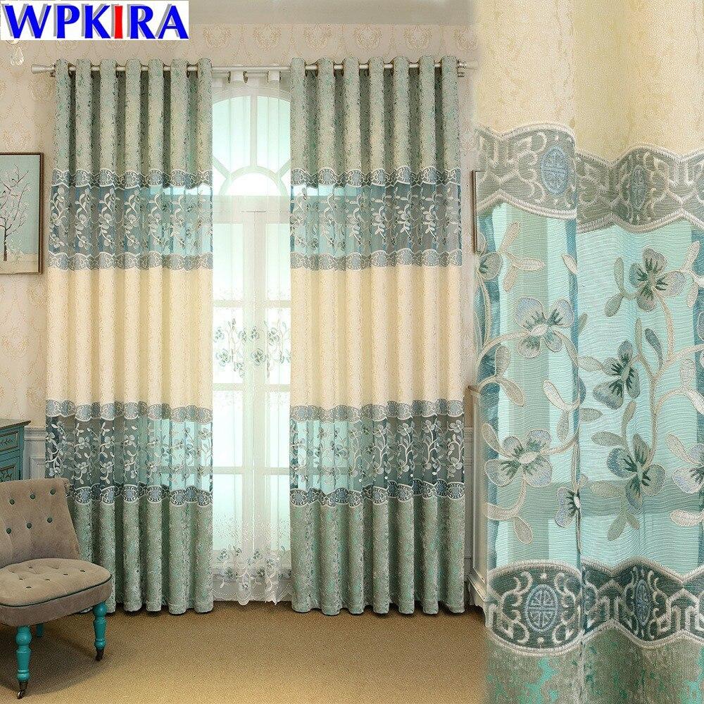 Вышивка цветочные шторы для гостиной окна тюль Cortinas Dormitorio Tenda Finestra китайский серый толстый Curtians M006-30