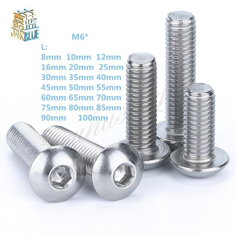 M6 Bolt A2-70 Button Head Socket Screw Bolt SUS304 Stainless Steel M6*(8/10/12/14/16/20/25/30/35/40/45/50/55/60~100) mm m8 bolt a2 70 button head socket screw bolt sus304 stainless steel m8 10 12 16 20 25 30 35 40 45 50 55 60 65 70 75 80 100 mm