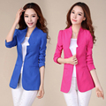 Plus Size XXXL Candy Color Blazer Women Fashion Slim Female Outerwear 2017 Spring And Autumn Medium-Long Suit Jacket