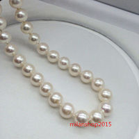 AAAAA 189 10 mm real natural south sea white pearl necklace > jewerly free shipping