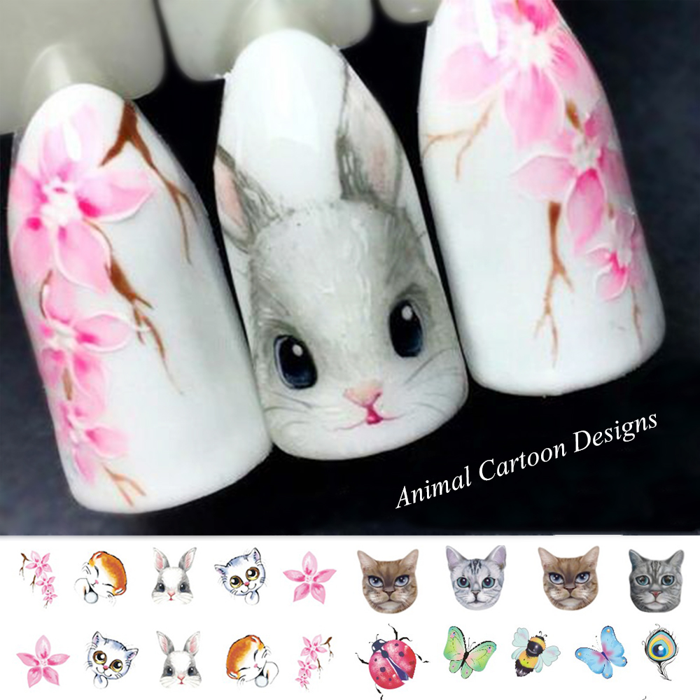 1 Sheet Nail Sticker Cat Butterfly Water Transfer Decals Cute Cartoon Patterns Temporary Nail Art Decoration Tips SASTZ501-507 стоимость