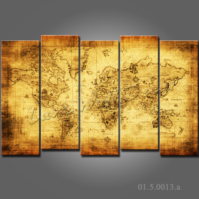 NO FRAME CANVAS ONLY canvas painting Old world map wall sticker