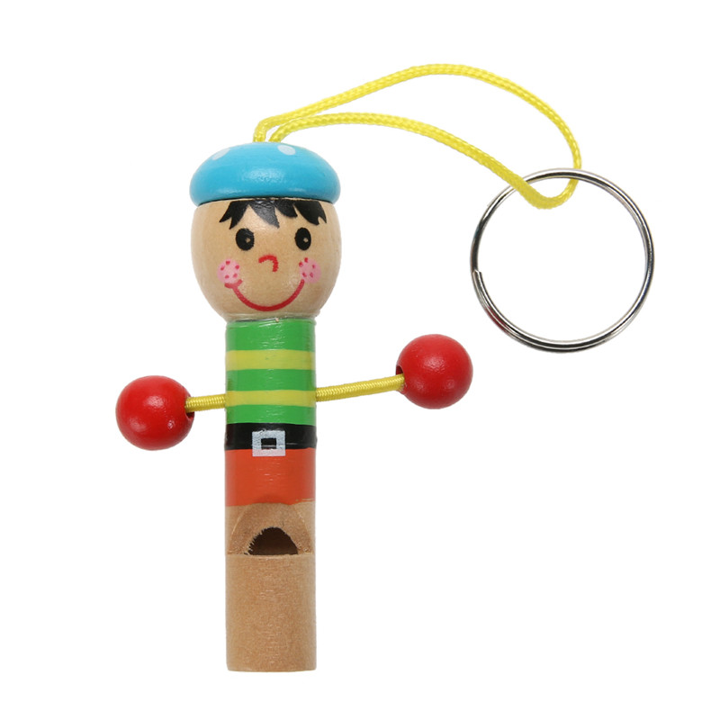 Baby Kids Wooden Mini Whistle Pirates Colorful Developmental Musical Toys For Baby Kids Lovely Doll Keychain